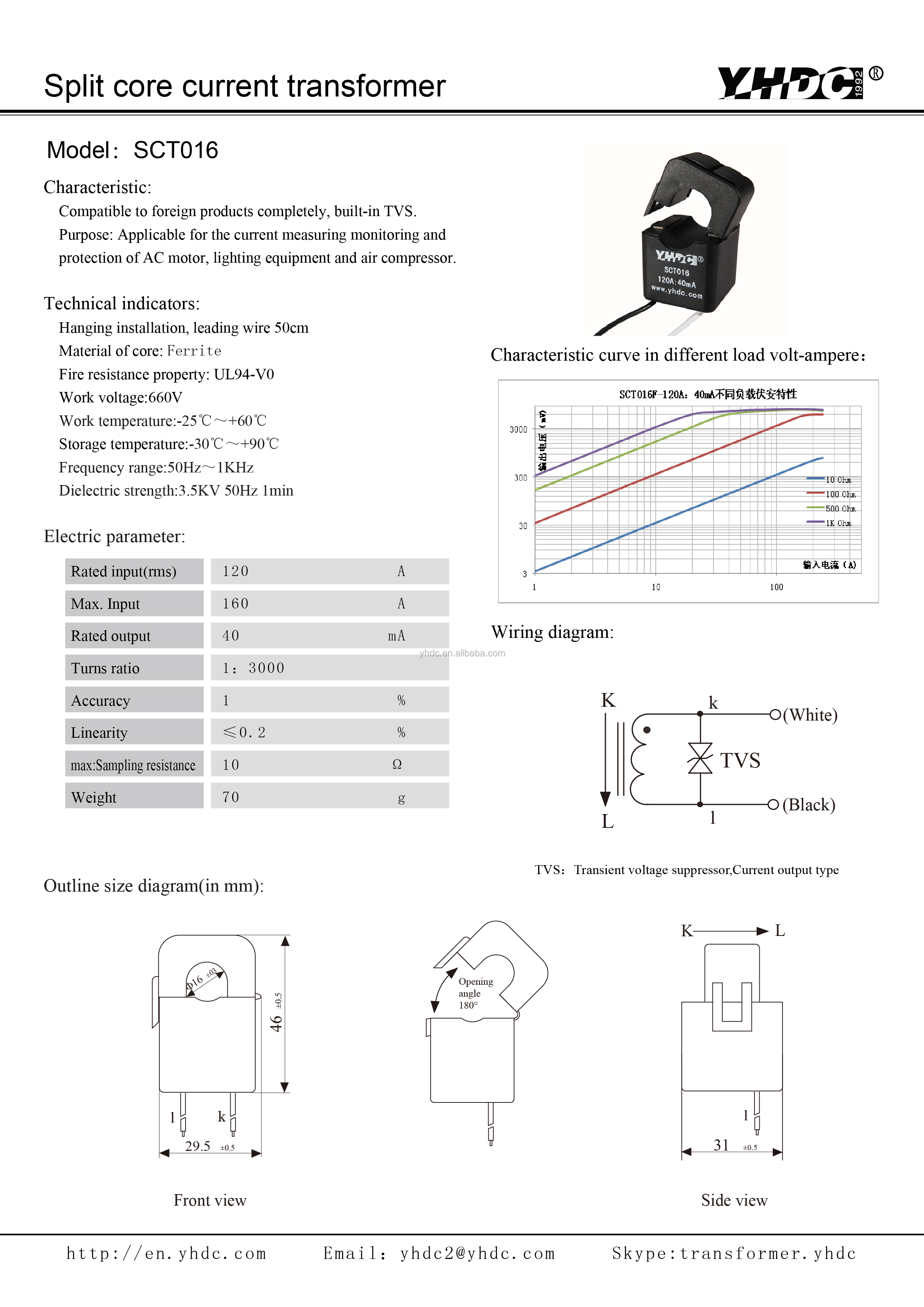 YHDC SCT010 Split Core Current Transformer Input 0.01-80A Output 26.6mA Black