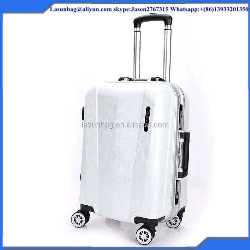 2016 Cheap linen lines White Color Women Classic Travel Trolley Luggage Bags