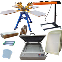 NEW condition 4 color 4 workstation screen printer plate type screen printing machine with some supplies kit