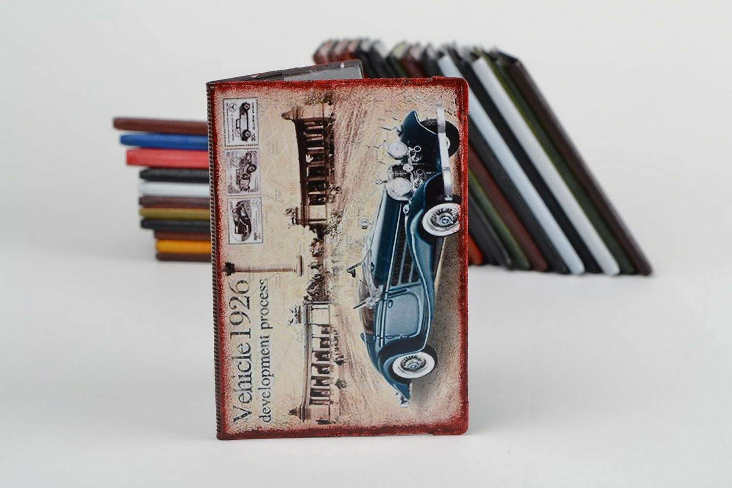 Handmade Faux Leather Passport Cover With Decoupage In Retro Style Automobile