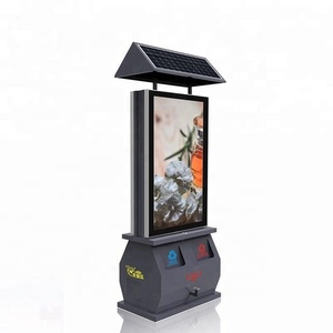 Hot sale outdoor solar power dustbin scrolling advertising light box/billboard