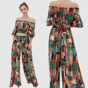 2019 New Ladies Trousers Summer Women Palazzo Pants Two Piece Set Women Clothing