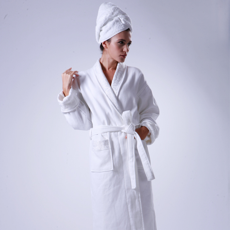 Luxury 5 Star Hotel Terry Towelling Robes Silk Embroidery Satin Bath Towel  Robe a5e91c60b