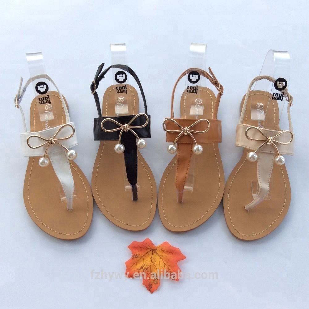 Ladies summer fashion flat sandals shoes with bow 2018