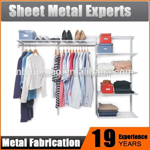 Customized new style garment wire shelving design carbon steel clothing hanging rack metal wardrobe