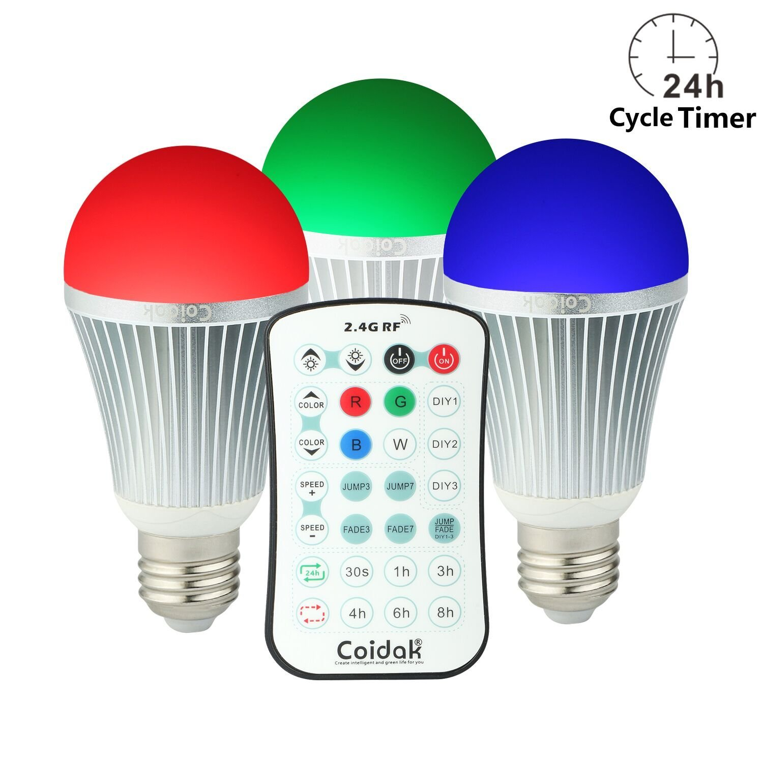Coidak CO816 E26 Color changing LED Bulb with Timer & Sleep Function and Pure White Light, 2.4G Wireless Control Dimmable A19 Lamp with Remote, Aluminum Shell, 3-PACK