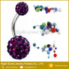 316L Surgical Stainless Steel Purple Crystal Rhinestone Shamballa Belly Button Rings