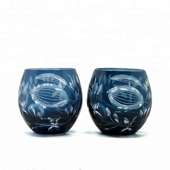 Set of red and blue Edo Kiriko cut glass water cup