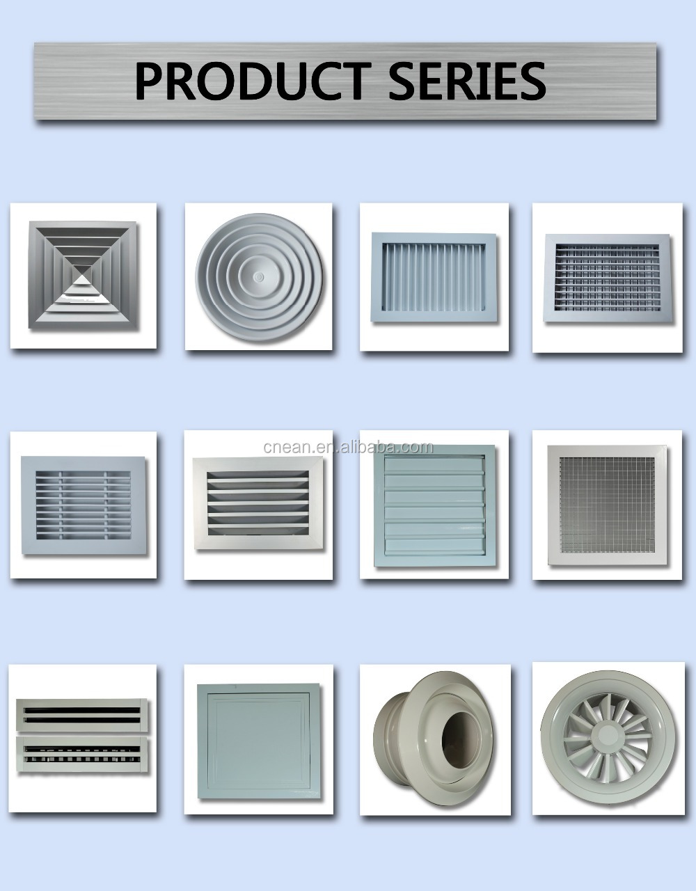 Exterior Door Vent Exhaust Fan Grill For Forced Air