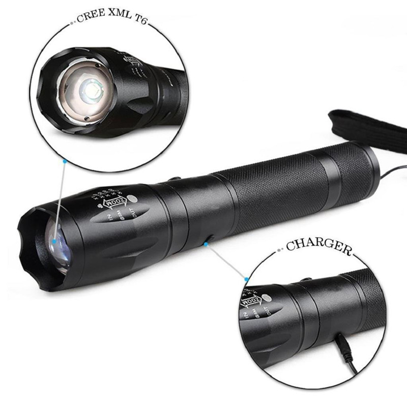 800lm Waterproof Tactical LED Military Zoomable Flashlight