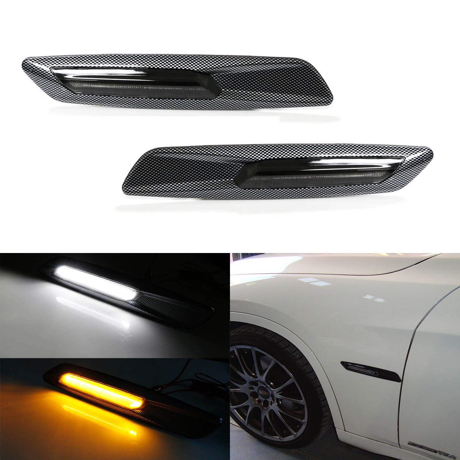 iJDMTOY BMW F10 Style White/Amber Switchback LED Light Carbon Fiber Checker Finish Side Marker Lamps For BMW E90 E92 E60 1 3 5 Series X1