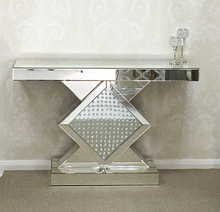 Contemporary Venetian Mirrored Glass Floating Crystal Diamond Console Hall Table