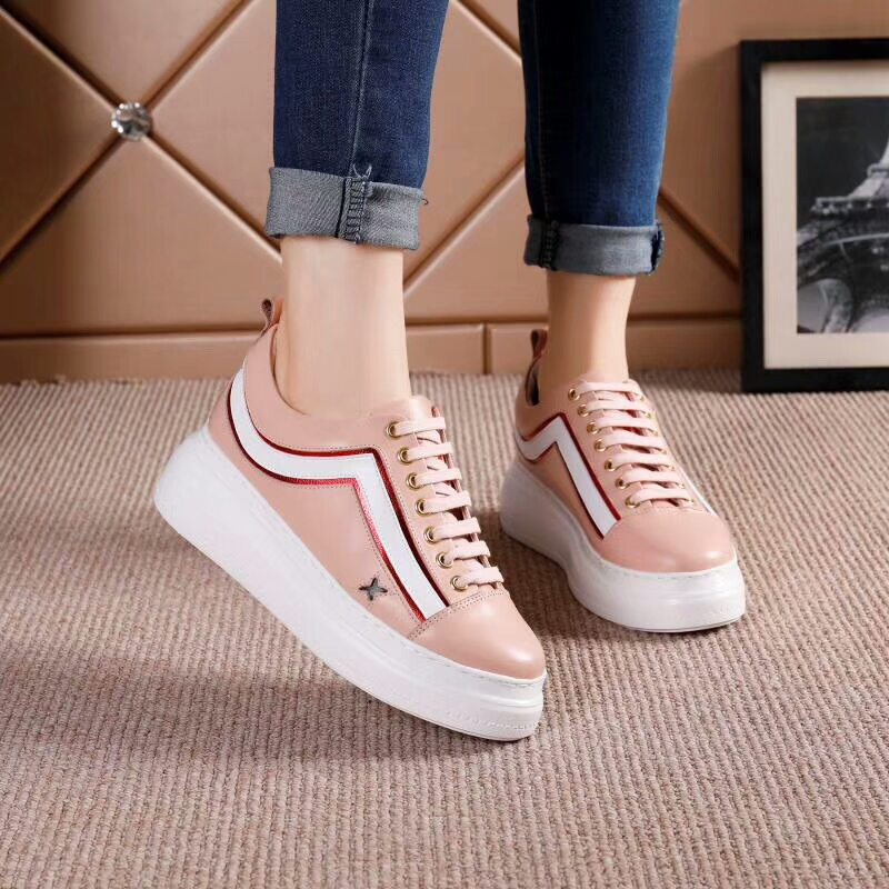 2018 new lace comfortable shoes white wild sports thick female bottom up summer shoes casual gxwqa54gr