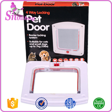 White Frame 4 Way Locking Lockable Magnetic Pet Cat Small Dog Flap Plastic Cat door