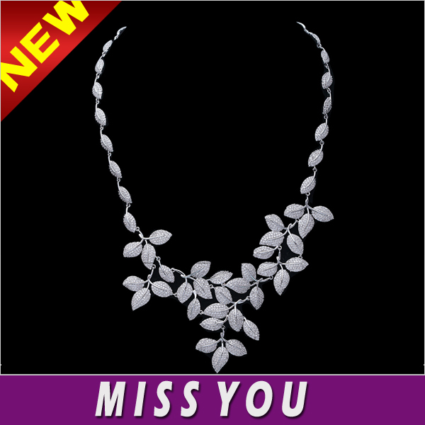 Fashion vintage linked tree branch leaf clove zircon chaplet necklace