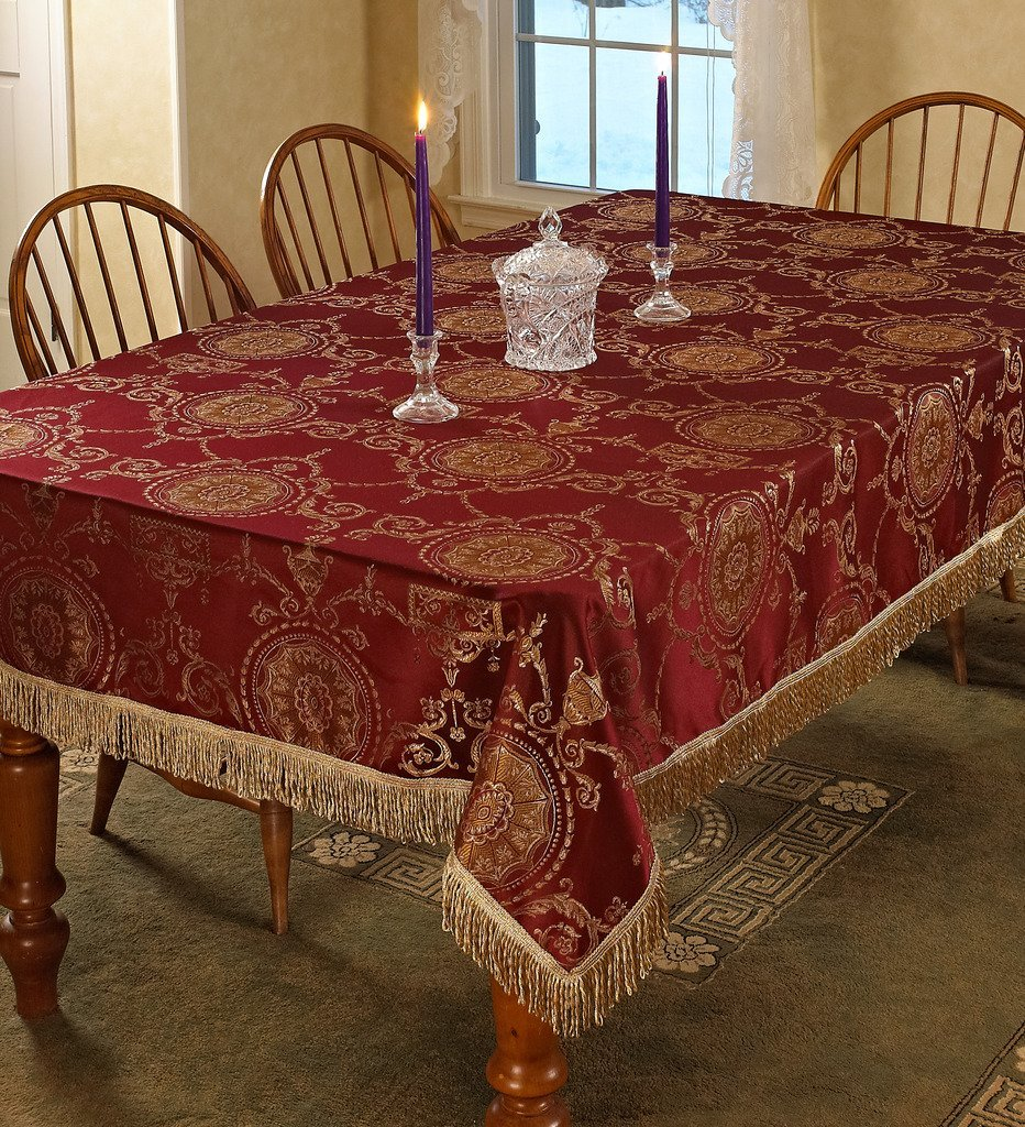 "Violet Linen Prestige Damask Design Oblong/Rectangle Tablecloth, 60"" x 102"", Burgundy"