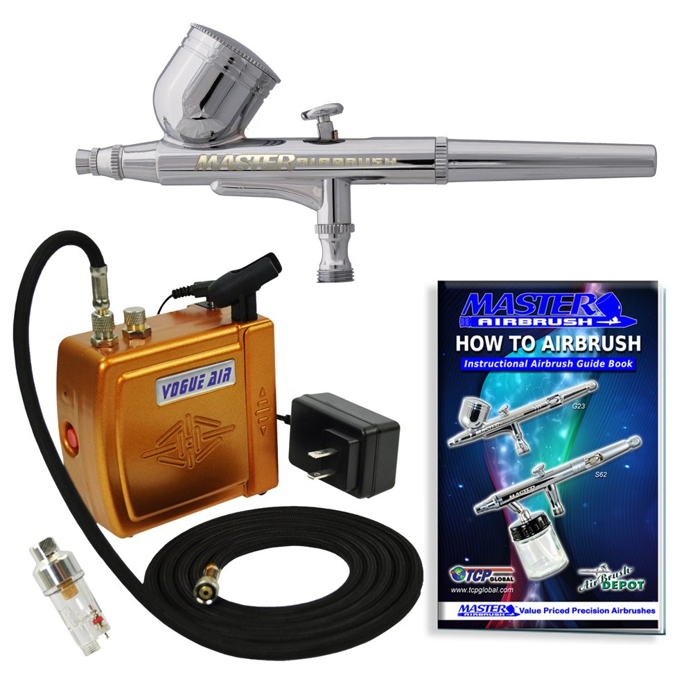 Master Airbrush Brand Model G22 Airbrushing System with Model C16-G Gold Portable Mini Airbrush Air Compressor-The Complete Set Now Includes a (FREE) How to Airbrush Training Book to Get You Started