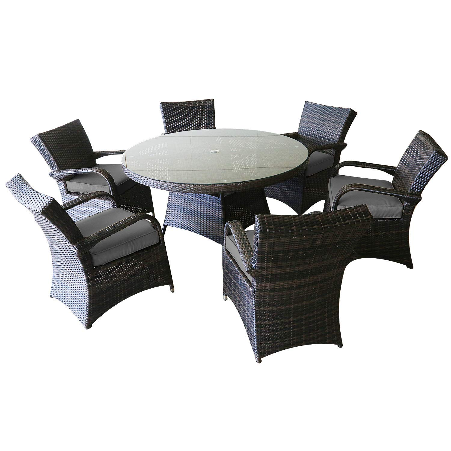 Patioption 7 Pieces (6 Seats) Outdoor Patio Furniture Dining Table Sets, All-Weather Rattan Chairs with Washable Gray Cushions and Wicker Round Tempered Glass Table, Patio Conversation Sets (Gray)