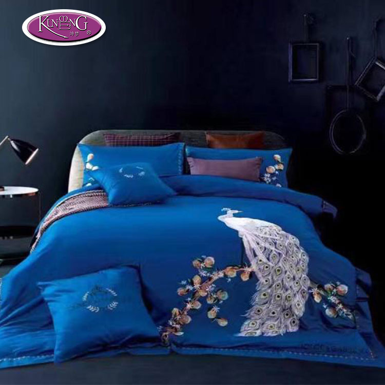 High quality custom embroidery bedding set fancy blue peacock feather print duvet cover