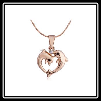 Wholesale popular two love dolphin animal necklace jewelry pendants wholesale popular two love dolphin animal necklace jewelry pendants for best friends mgj0157 mozeypictures Images