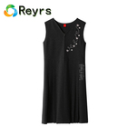 Reyrs Custom Professional 100% Cotton pinafore black embroidered straight dress High School Girls Uniform Design Skirt