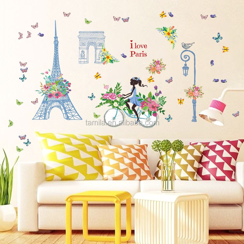 Romantic Paris Wall Sticker For Kids Rooms Eiffel Tower Flower Riding Home  Decor - Buy Removable Wall Stickers,Large Decorative Wall Stickers,Pvc Home  ...