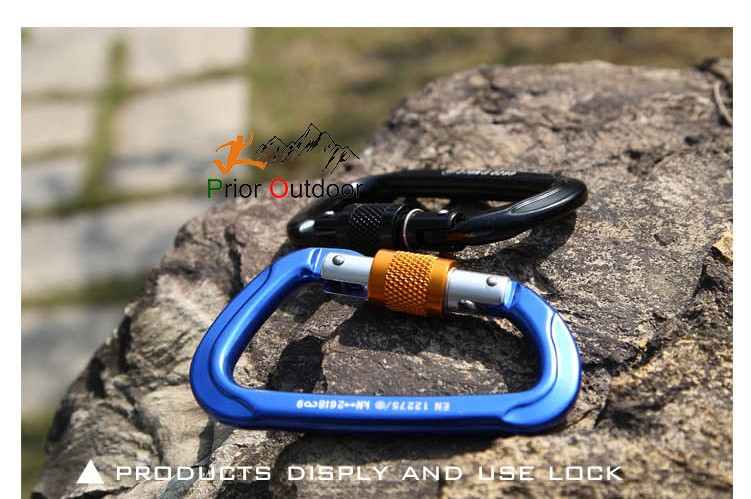 CE Certificated 26KN Screw gate Aluminum climbing carabiner oval Safety Hook rock round Climbing Hook 100% Quality Guarantee!