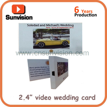 2.4inches TFT video wedding inviation card,video invitation card