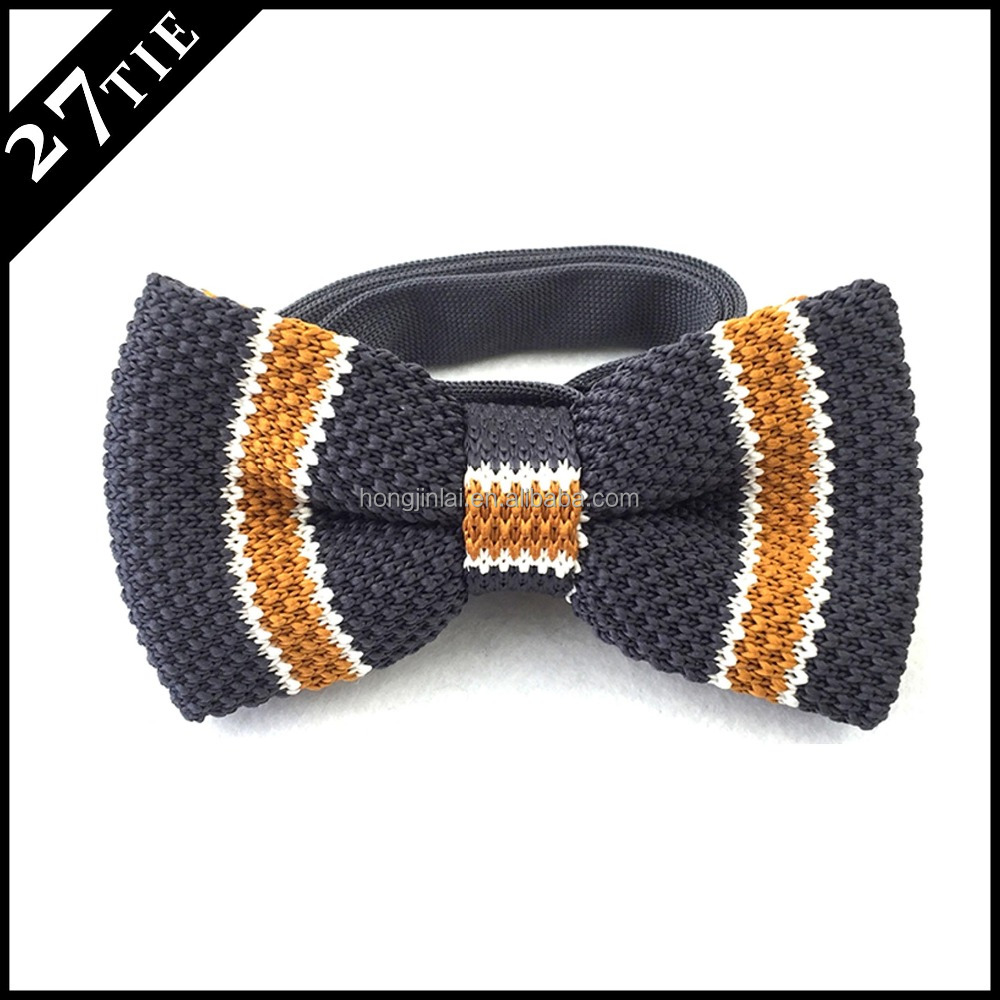 Navy stripe 100% cotton knitted bow tie