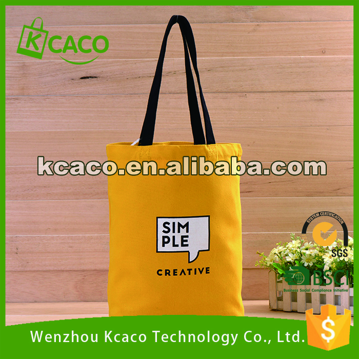 Yellow simple custom logo printed cheapest natural cotton tote bag