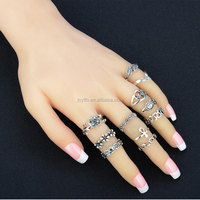 Vintage Fashion 11 Pieces/Set Turkish Hollow Carved Sun Moon Star Flower Old Silver Jewelry Color Midi Knuckle Rings Sets