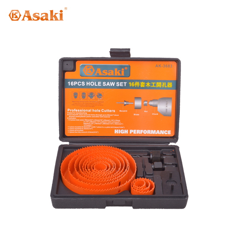 16 PCS Wood hole saw set
