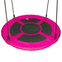 "40"" Saucer Flying Saucer Swing for Kid - 100cm Disc Giant Nest Web Rope Hanging Tree Swing Seat Set"