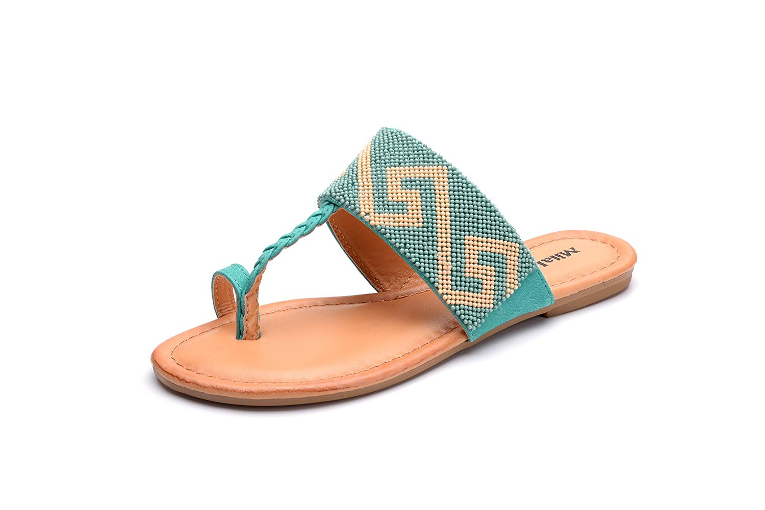 Mila Lady Amy-10 Tribal Beaded Indian Accent Toe Ring Slip On Flip Flop Flat Slide Sandals