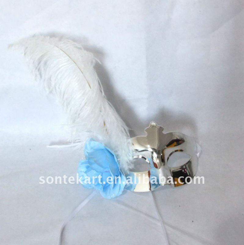 simple silver ostrich feather mask