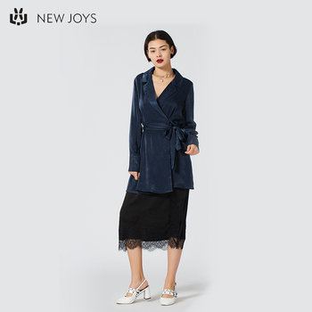Navy Blue Tailored Collar Trench Coat Women Custom Ladies' Velvet Trench Coat For Spring