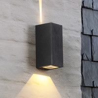 Outdoor Modern IP65 85-265V 6W Fixture Waterproof Building Exterior Garden Yard LED Wall Sconce Light