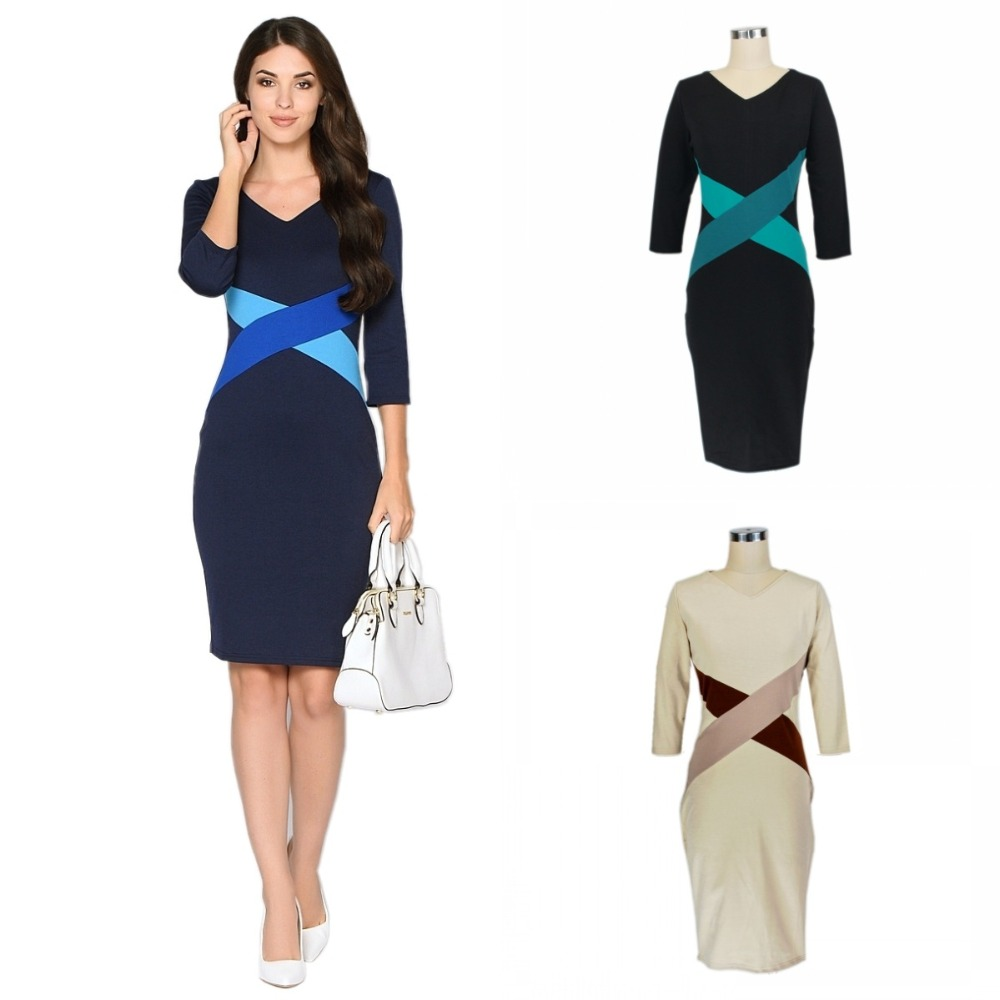 latest spring bump the color dress 3/4 sleeve dress official tight dress for women