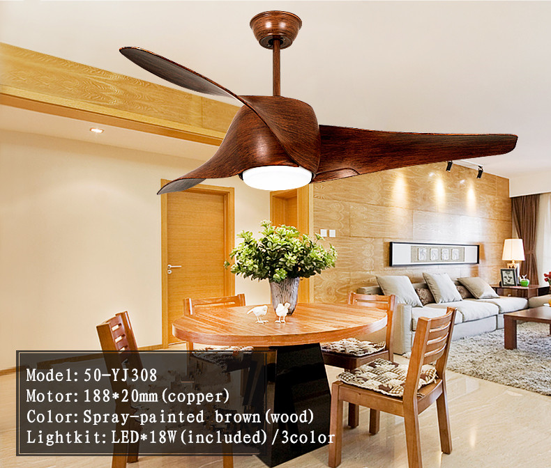 Wood plastic blade 2017 remote control ceiling fans with led lights