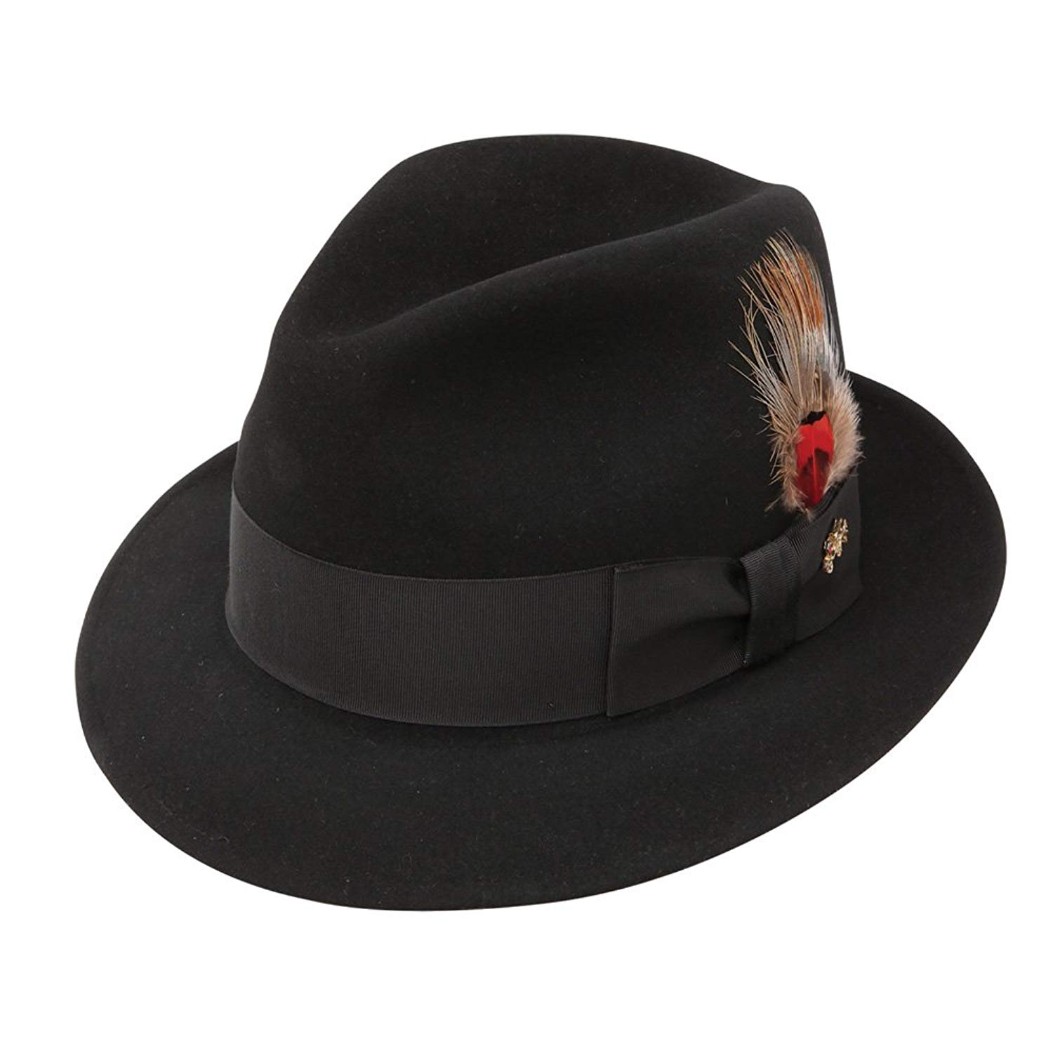 789da240996 Get Quotations · Stetson and Dobbs DFJET7 Men's Jet 707 18 Brim Fedora Hat,  Black - 7 1