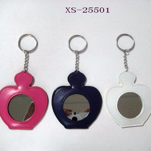 Hot selling wholesale apple shape keyring custom acrylic keychain with  mirror