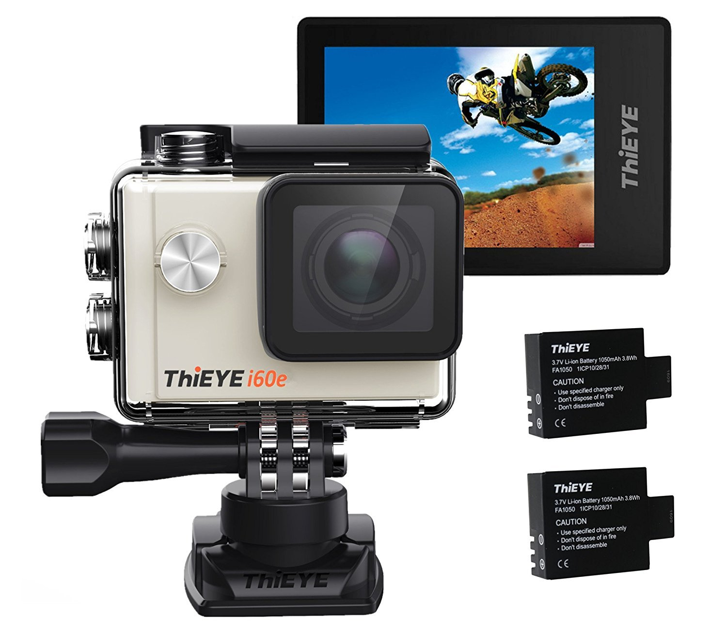"""ThiEYE i60e 4K Wifi Action Camera, 197FT Waterproof Sports Action Camera 2"""" HD Screen with 170 Wide Angle, APP Control and Full Accessories Silver"""