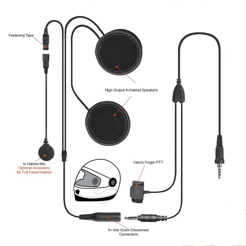 Motorcycle Driver full face Helmet Earpiece for Two Way Radio for Motorola 2 pin connector K connector
