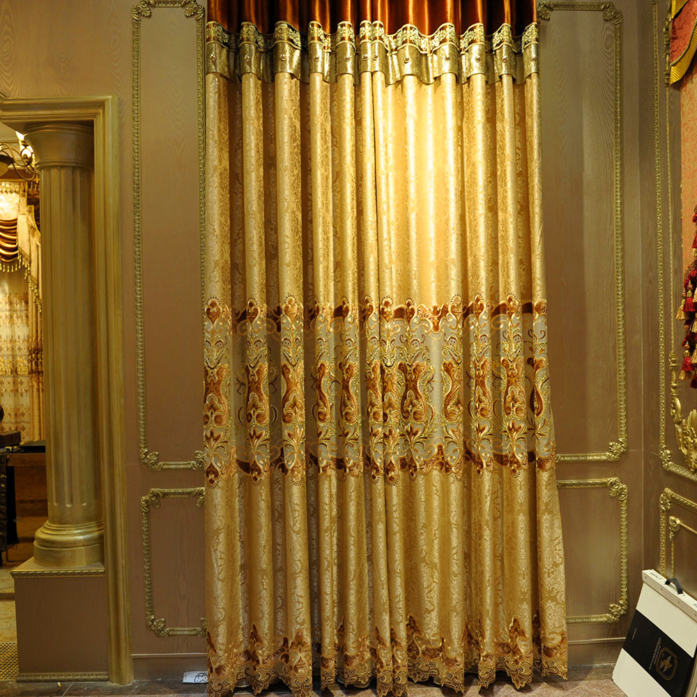 metallic weaving jacquard tulle patchwork embroidered curtain fabric,light brown living room curtain 3512-6