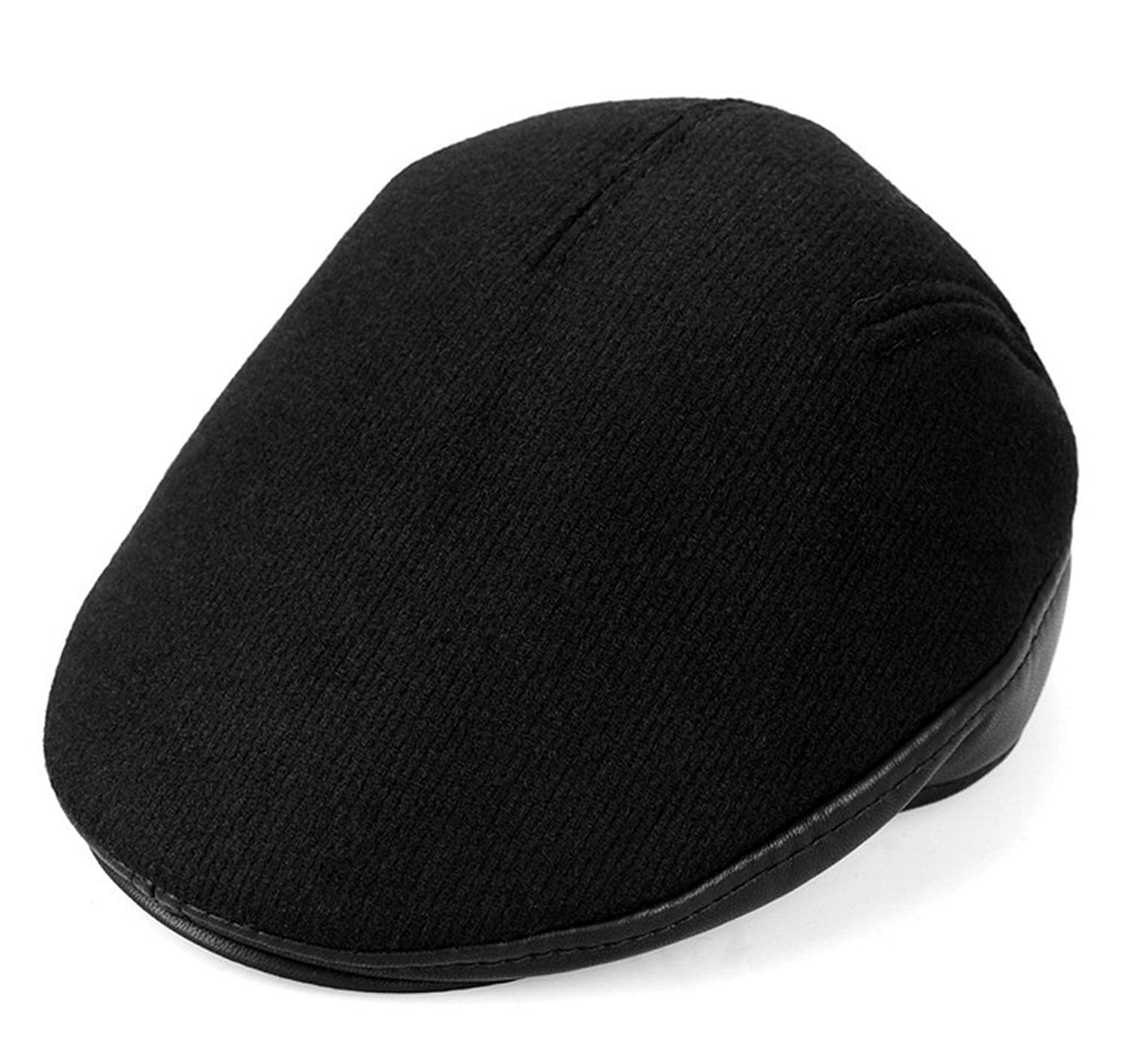 c299aeb4e2a Get Quotations · Men s Classic Wool Plain Blend Newsboy Ivy Hat Wool Thick  Warm Gatsby Driver Caps Spring Autumn