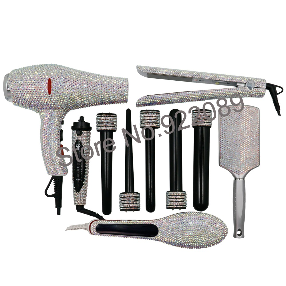 styling tools Hot Tools Bling Bling Crystal straightener Diamond Curling  wands Kit Crystal Hair Blow Dryer