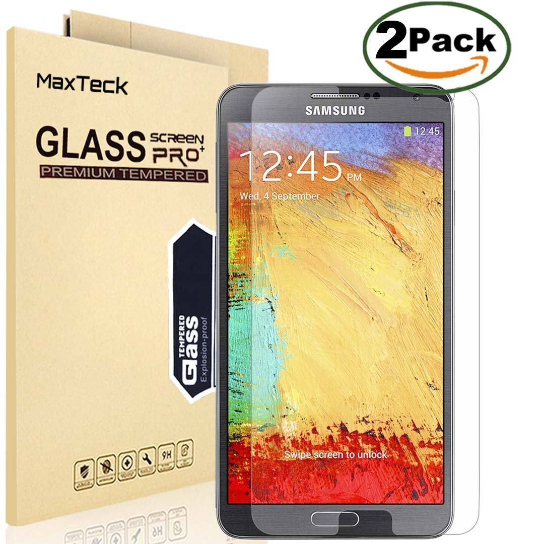 [2 Pack] SamSung Note 3 Screen Protector, MaxTeck 0.26mm 9H Tempered Shatterproof Glass Screen Protector Anti-Shatter Film for Samsung Galaxy Note 3 N900 N900V N900T