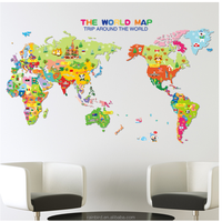 removable self adhesive wall sticker colored world map for kids room
