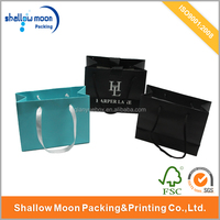 luxury Custom Make Gift Printed Paper Shopping Bags with ribbon handle(QY150925)