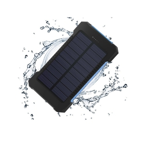 Rohs Approved Dual Usb Port Waterproof 10000mah Solar Phone Power Bank Mobile Solar Charger With Led Light